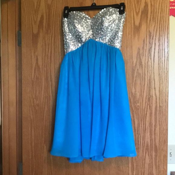 Dresses | Beautiful Strapless Blue And Silver Hc Dress | Poshmark